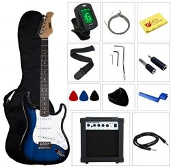 Stedman Pro Beginner Series Electric Guitar with Case, Strap, Cable, Picks, Tuner, String Winder ...
