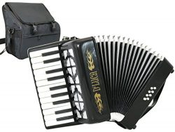 D'Luca D228-BK Grand Junior Piano Accordion 22 Keys 8 Bass with Gig Bag, Black