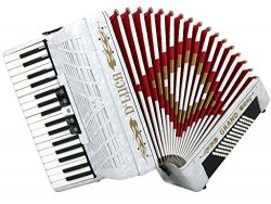 D'Luca D3472-WH Grand Piano Accordion 5 Switches 34 Keys 72 Bass with Case and Straps, White