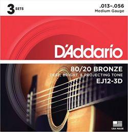 D'Addario EJ12-3D 80/12 Bronze Acoustic Guitar Strings, 13-56, 3 Sets, Medium