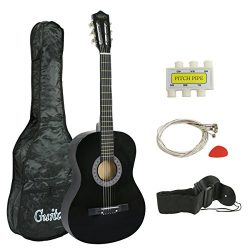 ZENY 38″ New Beginners Acoustic Guitar With Guitar Case, Strap, Tuner and Pick (Black)