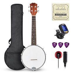 Vangoa Concert Banjo Ukulele Kit- 23 Inch 4 Strings Banjo Ukulele with Padded Bag, Tuner, Pick,  ...