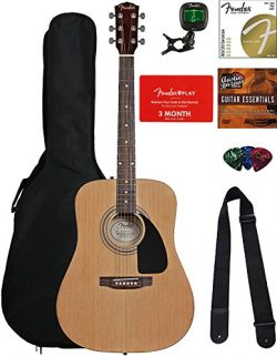 Fender FA-100 Dreadnought Acoustic Guitar – Natural Bundle with Fender Play and Austin Baz ...