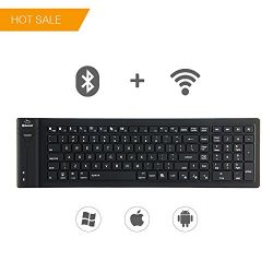 ET Wireless Flexible Mini Bluetooth Keyboard Portable Silicone Rollup Waterproof flexible keyboa ...