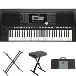 Yamaha PSR-S970 61-Key Arranger Workstation with Yamaha Stand, Bench, and Case