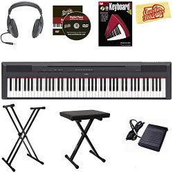 Yamaha P-115 Digital Piano – Black Bundle with Adjustable Stand, Bench, Sustain Pedal, Hea ...