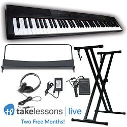 Artesia PA-88W 88-Key Weighted Portable Piano Bundle (Black), Includes Stand, Power Supply, Head ...