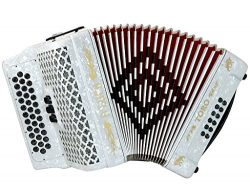 D'Luca Toro Button Accordion 34 Keys 12 Bass, GCF, Case and Straps, White