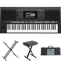 Yamaha PSR-S770 61-Key Arranger Workstation with Yamaha Stand, Bench, and Case
