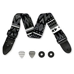 Black and White 2″ Guitar Strap – Retro Aztec Guitar Strap Bundle Includes 2 Strap L ...