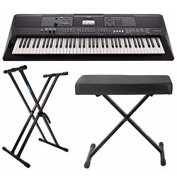 Yamaha PSREW410 76-key Portable Keyboard with Power Adapter, Knox Double X Keyboard Stand &  ...