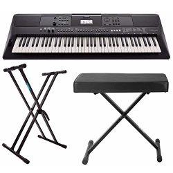 Yamaha PSREW410 76-key Portable Keyboard with Power Adapter, Knox Double X Keyboard Stand &  ...