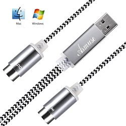 Asmuse USB MIDI Cable Interface Converter for Electric Music Instruments Electric Keyboard Piano ...