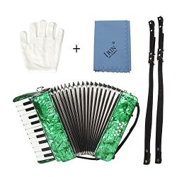 ammoon 22-Key 8 Bass Piano Accordion with Straps Gloves Cleaning Cloth Educational Music Instrum ...