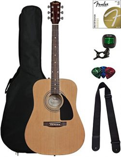 Fender FA-100 Dreadnought Acoustic Guitar – Natural Bundle with Gig Bag, Tuner, Strings, S ...