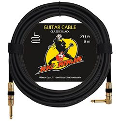 RIG NINJA GUITAR CABLE for Serious Musicians, 20 ft Electric Guitar Amp Cord for a Clean Tone to ...