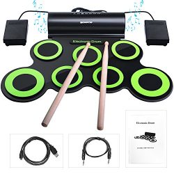 Rechargeable Electronic Roll-Up Drum Kit, BONROB Foldable Roll Up Drum Set Built in Speaker With ...