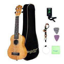 Soprano Ukulele Mahogany Bundle 21 Inch Professional Aquila Strings Kids Small Guitar Beginner K ...