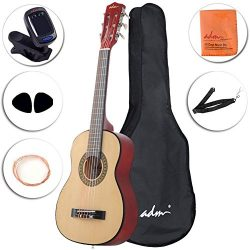 ADM Beginner Classical Guitar 30 Inch Nylon Strings Bundle with Carrying Bag & Accessories,  ...