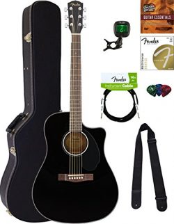 Fender CD-60SCE Dreadnought Acoustic-Electric Guitar – Black Bundle with Hard Case, Tuner, ...