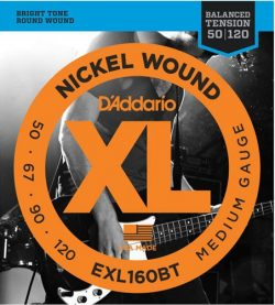 D'Addario EXL160BT Nickel Wound Bass Guitar Strings, Balanced Tension Medium, 50-120