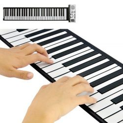 JouerNow RUP001 61 Thickened-Keys Roll Up Piano, Multifunctional Electronic Digital Synthesizer, ...