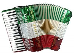 Fever F3460-MX Piano Accordion with 5 Switches, 34 Keys and 60 Bass, Red/White/Green