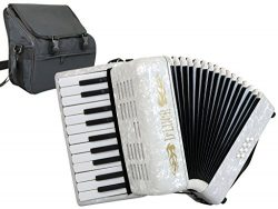 D'Luca D228-WH Grand Junior Piano Accordion 22 Keys 8 Bass with Gig Bag, White