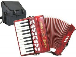 D'Luca D228-RD Grand Junior Piano Accordion 22 Keys 8 Bass with Gig Bag, Red