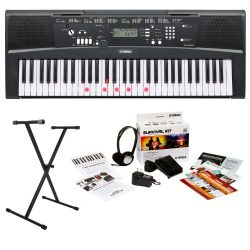 Yamaha EZ220 61-Key Lighted Key Portable Keyboard Bundle with X-Style Keyboard Stand and Surviva ...