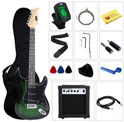 Stedman Pro EG39-TGRB-10W Beginner Series Electric Guitar with Case, Strap, Cable, Capo, Picks,  ...