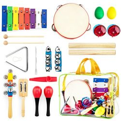 Harmonyster Musical Instruments Xylophone Set for Kids – 18pcs Baby Wooden Percussion Band ...