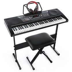Joy JK-66M 61-Key Simulation Piano Electronic Keyboard Kit Including USB for Beginners,with Head ...
