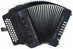 Hohner Compadre G/C/F 3-Row Diatonic Accordion – Black
