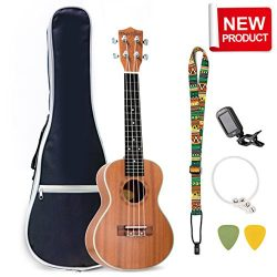 Evershine Mahogany Concert Ukulele for Beginner, 23 Inches Music Concert Smooth Sounds Ukulele,  ...