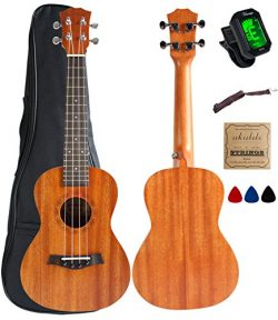 Concert Ukulele Mahogany 23 inch with Ukulele Accessories,5mm Sponge Padding Gig Bag,Strap,Nylon ...