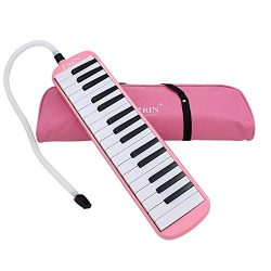 Baisidai 32 Key Piano Style Melodica With Box Organ Accordion Mouth Piece Blow Key Board (Pink)