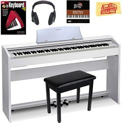 Casio Privia PX-770 Digital Piano – White Bundle with Furniture Bench, Headphones, Instruc ...