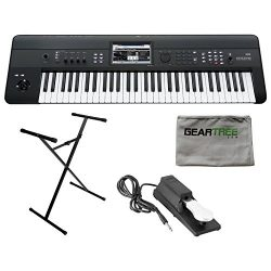 Korg Krome 61 Music Workstation Keyboard w/ Geartree Cloth, Stand, and Pedal