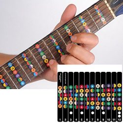 Guitar Fretboard Note Decals Sticker Color Coded Guide for Guitar Beginners Gift – FREE 1  ...