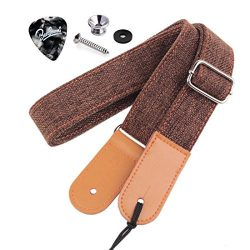 Rinastore Ukulele Strap Country Style Soft Cotton Linen & Genuine Leather Ukulele Shoulder S ...
