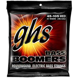 GHS Strings M3045 4-String Bass Boomers, Nickel-Plated Electric Bass Strings, Long Scale, Medium ...