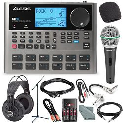 Alesis SR18 18 Bit Portable Drum Machine with Effects and Platinum Bundle w/ Microphone + Headph ...