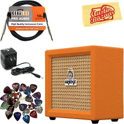 Orange Crush Mini Guitar Combo Amplifier Bundle with Power Supply, Instrument Cable, Pick Sample ...