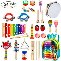 Toddler Musical Instruments 24pcs 17 Kinds of Wooden Percussion Instruments for Kids Preschool E ...