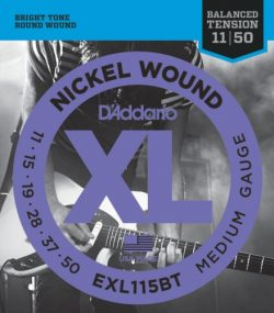 D'Addario EXL115BT Nickel Wound Electric Guitar Strings, Balanced Tension Medium Blues/Jaz ...