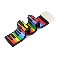 Rainbow Roll Up 49 Standard Keys Piano,Jiesstore Flexible Portable keyboard,Educational Toy with ...