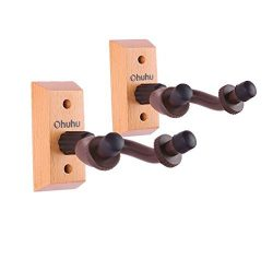 Ohuhu Guitar Hanger, Keeper, Hardwood Wall Mount 2-pack Hook Holder Stand For Guitar/Acoustic El ...