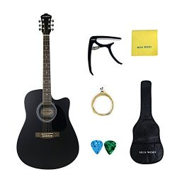Acoustic Guitar 41 inch Basswood Cutaway Steel Strings Acoustic Guitar Starer Kit with Gig Bag,  ...