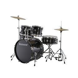 Ludwig Accent Drive Black 5-Piece Drum Set (Includes Hardware, Throne, Pedal, Cymbals, Sticks an ...